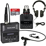 Tascam DR-10L Portable Digital Studio Recorder with Lavaliere Microphone + DR-10X Plug-On Linear PCM Digital Recorder + Pro Headphones 32GB Memory Card Bundle