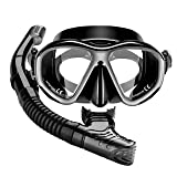 Mpow Snorkel Mask, Scuba Diving Mask for Snorkeling Diving Swimming, Easy Breath Scuba Snorkeling Gear with Silicon Mouth Piece and Easy Adjustable Strap (Black)