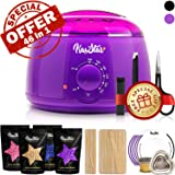 ?46 in 1? Wax Warmer - KasStar Waxing Kit Hair Removal for Rapid Waxing of All Body with 4 Scents Hard Wax Beans 30 Wax Applicator Spatula Sticks 5 Protective Collars 3 Small Bowls and SPECIAL GIFT (Color: Waxing Kit - Purple Wax Warmer)