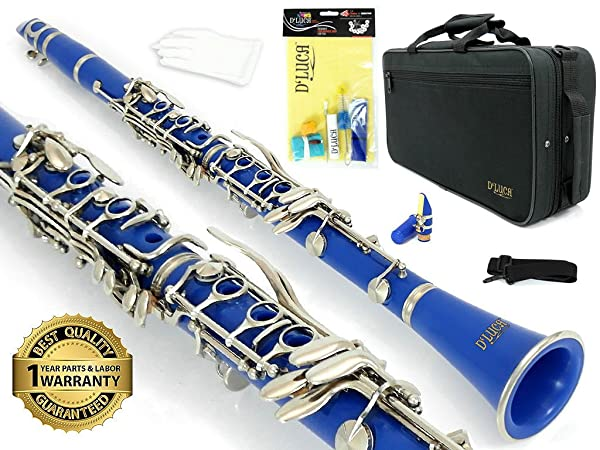 ROFFEE clarinet beginner student level 26N B flat ABS nickel plated 17 keys Bb tone with 2 berrels,case,instructions,10 reeds,mouthpiece and more