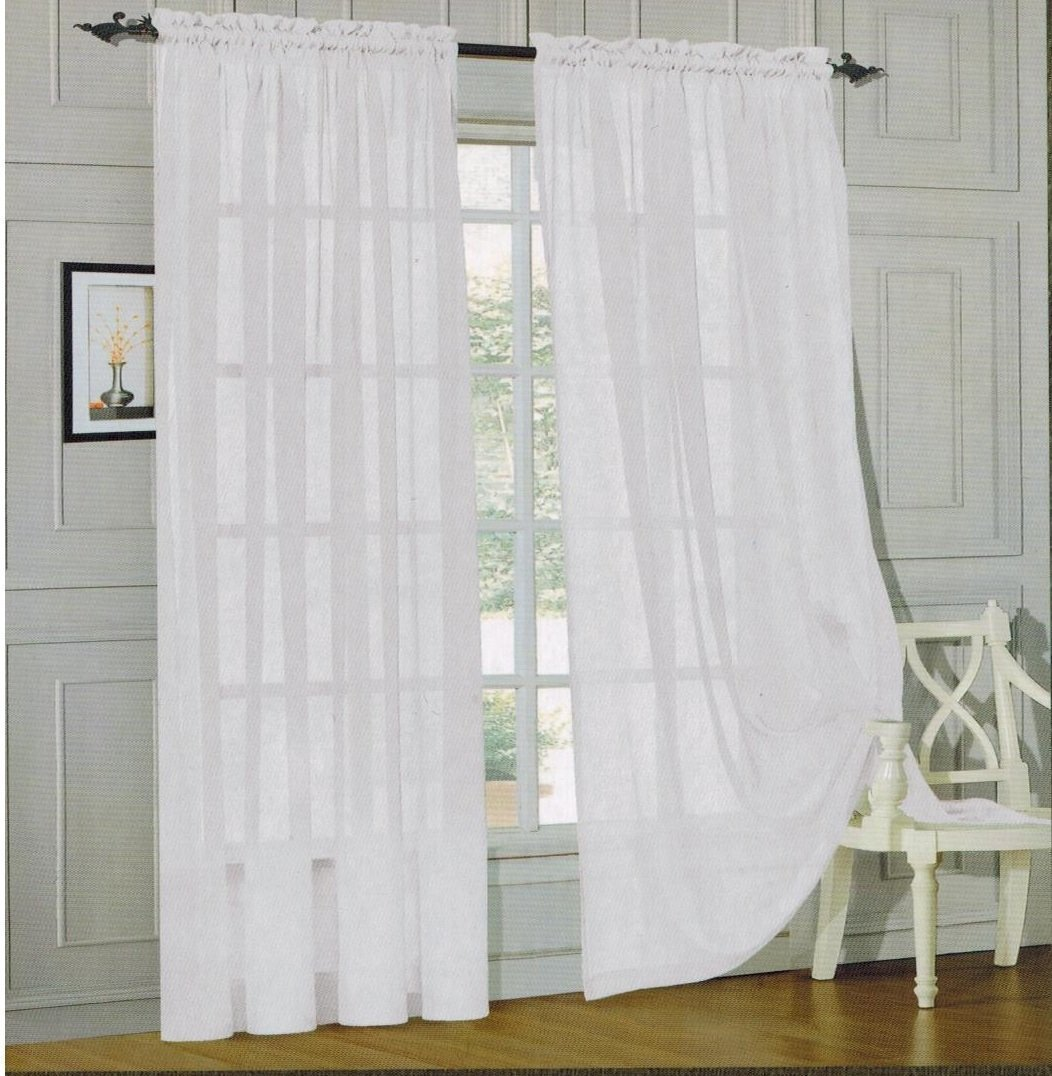 Elegant Comfort 2 Piece Sheer Panel With 2inch Rod Pocket