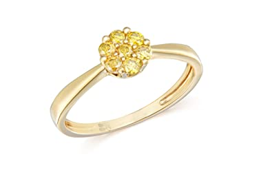 Pave Prive 18ct Yellow Gold Yellow Diamonds Flower Cluster Ring