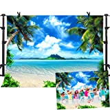 MME Summer Beach Backdrops for Photography 10X7ft Vinyl Blue Sea and Sky Background Palm Trees Photo Backdrop for Photo Booth (Color: GEME748, Tamaño: 10x7ft)