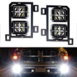 iJDMTOY Dual LED Pod Light Fog Lamp Kit For 2013-18 Dodge RAM 1500, Includes (4) 20W High Power CREE LED Cubes, Foglight Location Mounting Brackets & Wiring/Adapter Harnesses (Tamaño: For 2013-up Dodge RAM 1500)