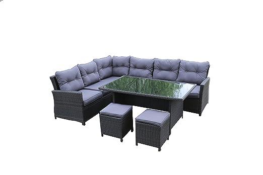 Salon de jardin Aluminium 8 places, mobilier de jardin, banquette avec table de jardin gris