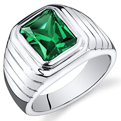 Revoni Mens 5.50 Carats Octagon Cut Emerald Ring In Sterling Silver With Rhodium Finish