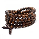 JIIUZUO 8mm 108 wood necklace sandalwood prayer beads bracelet meditation buddhist link wrist prayer mala elastic