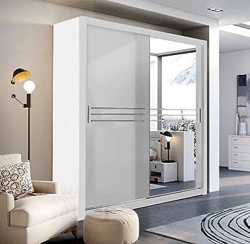 Modern Bedroom Wardrobe Sliding Door Havana White 203cm sold by Arthauss