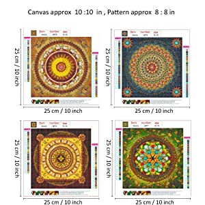 4 Pack 5D DIY Diamond Painting Set Decorating Cabinet Table Stickers Full Drill Rhinestone Diamond Embroidery Paintings Pictures, Mandala Flower Painting(25X25CM/9.8X9.11inch) (Color: Bronze)