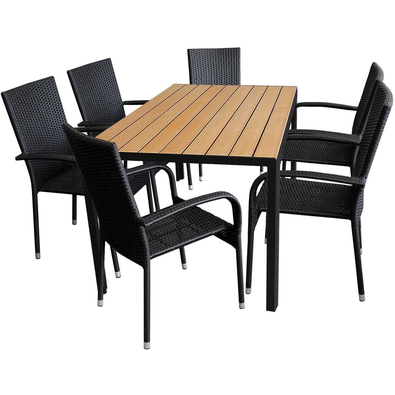 7tlg. Gartengarnitur Aluminium Gartentisch 150x90cm mit Polywood Tischplatte Golden Teak stapelbare Polyrattan Gartenstühle