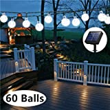 Solar Globe String Lights, 33 Feet 60 Crystal Balls Waterproof LED Fairy Lights, 8 Modes Outdoor Starry Lights Solar Powered String Lights for Home, Garden, Yard Party Wedding (Cool White) (Color: Solar globe string lights cool white)