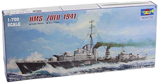Trumpeter 05758 HMS Zulu Tribal Destroyer 1:700 Plastic Kit Maquette
