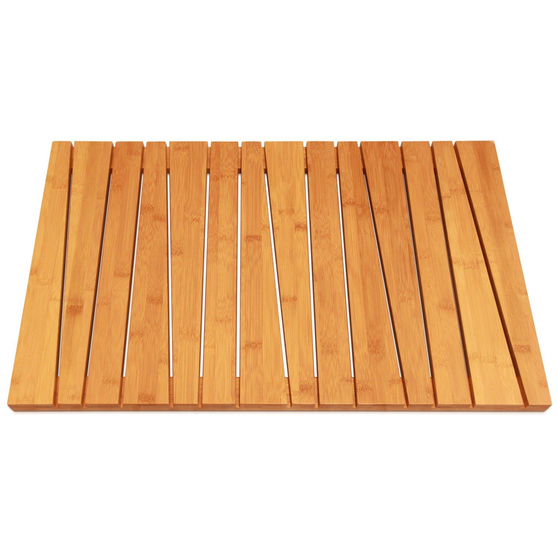 shower floor mat non slip bamboo square wood bathroom bath. Black Bedroom Furniture Sets. Home Design Ideas