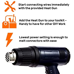 Solder Seal Wire Connectors 120 | Fast, Easy and Effective Waterproof Electrical Connectors | No Solder | Heat Gun Included | Repair Your Car, Speakers, Lights With Long Lasting Connections