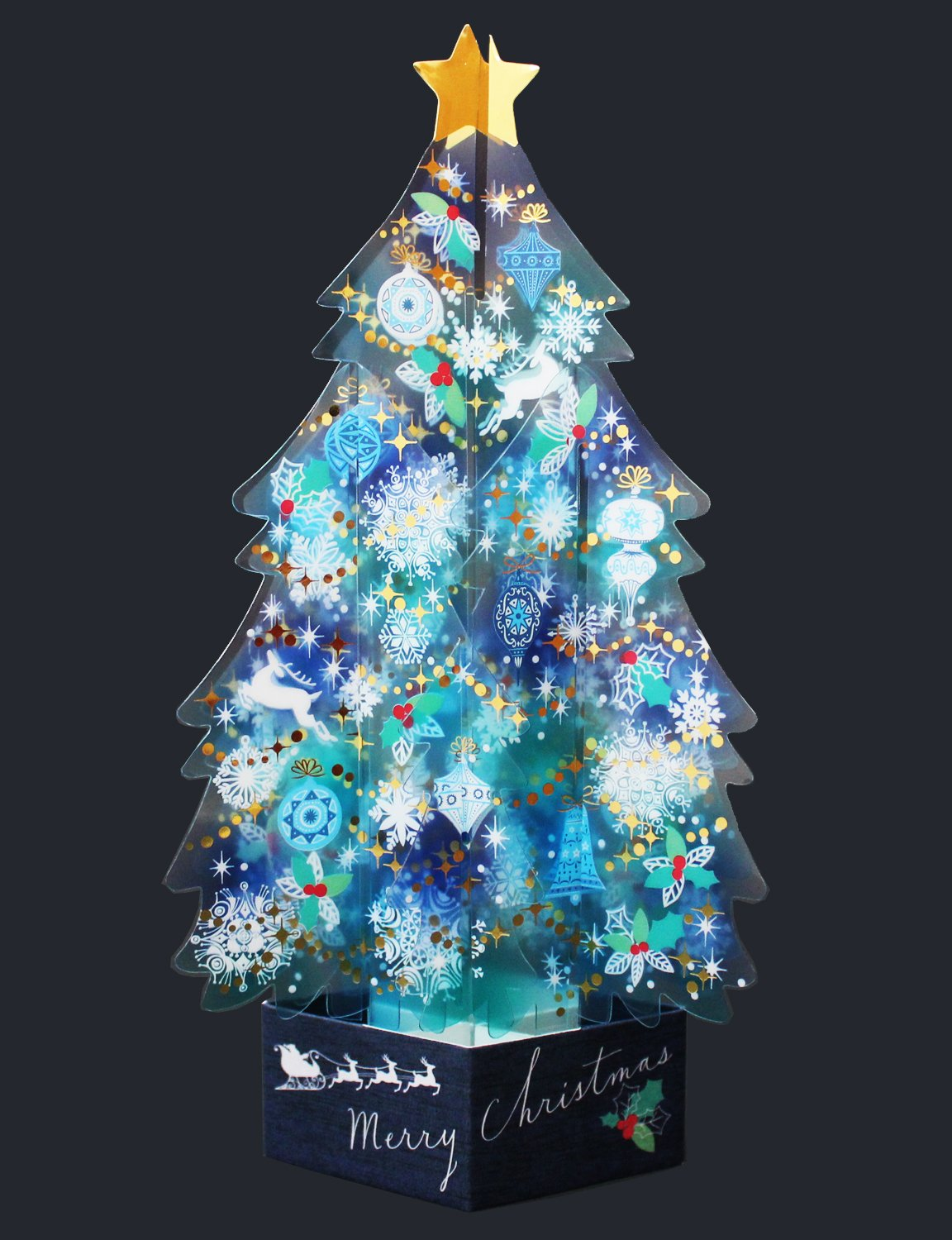 Blue Crystal 3D Christmas Tree Pop Up Greeting Card ...