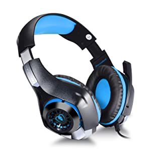 TURN RAISE 3.5mm Stereo Gaming Headset for Xbox one PS4 PC, Surround Sound Over-Ear Headphones with Noise Cancelling Mic, LED Lights, Volume Control Gamer Headset for Laptop, Tablet, iPad, Smartphones (Color: Blue)