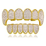 Lureen Gold Silver Twotone Iced Out CZ Vampire Fangs Grillz Set + 2 EXTRA Molding Bars (Grillz Set)