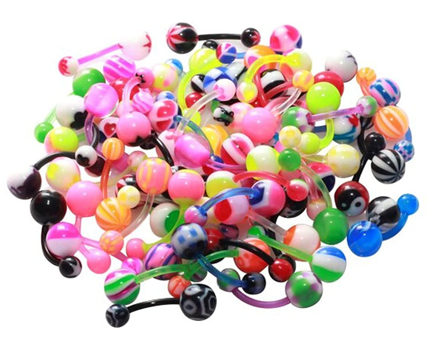21secret 100pcs Colorful Ball Barbell Curved Navel Belly Button Rings Bars Piercing glow in dark plastic navel belly body piercing bars rings multicolored 7 pcs