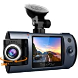 Dash Cam, Trekpow by ABOX HD 1080P Car DVR Dashboard Camera with 180°Rotation for Front and Cabin, 2