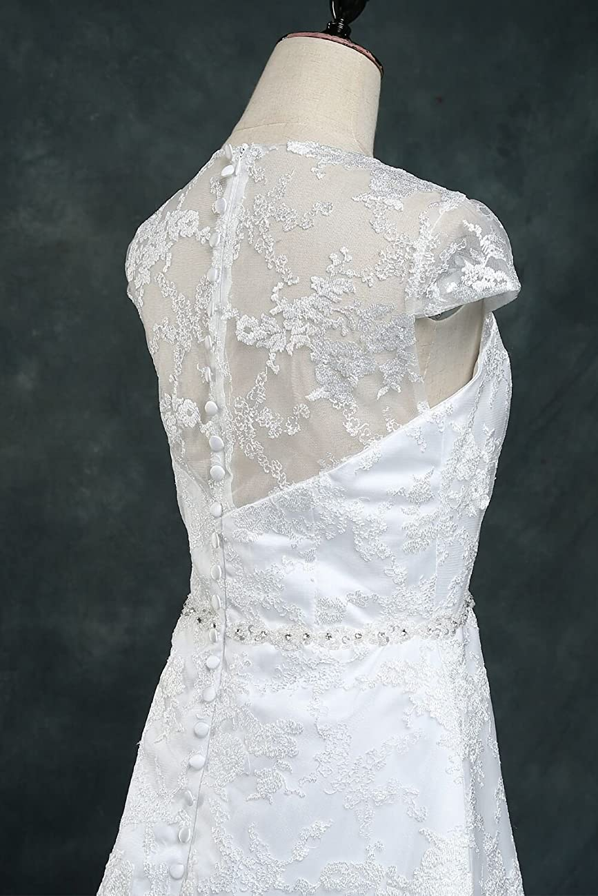 Vintage Lace Country Wedding Dresses Cap Sleeve Sheer Boho A line Bridal Gowns 2
