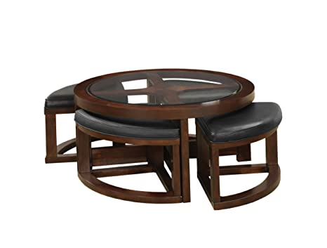 Furniture of America Julius Round Coffee Table with 5mm Beveled Glass Top and 4 Ottomans, Dark Walnut