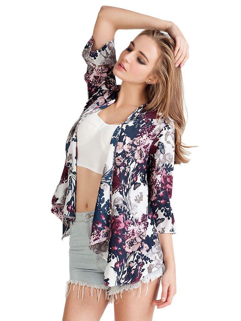 Choies Women's Chiffon Floral Kimono Loose Kimono Cardigan Blouse 0