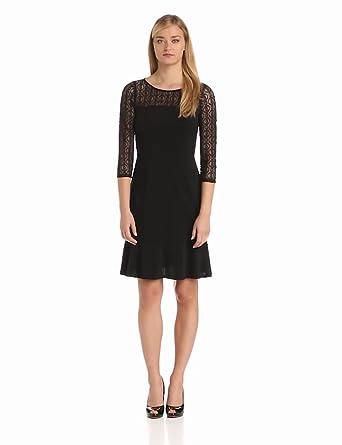 Nine West Dresses Women's Drop Waist Trumpet Skirt Dress, Black, 6