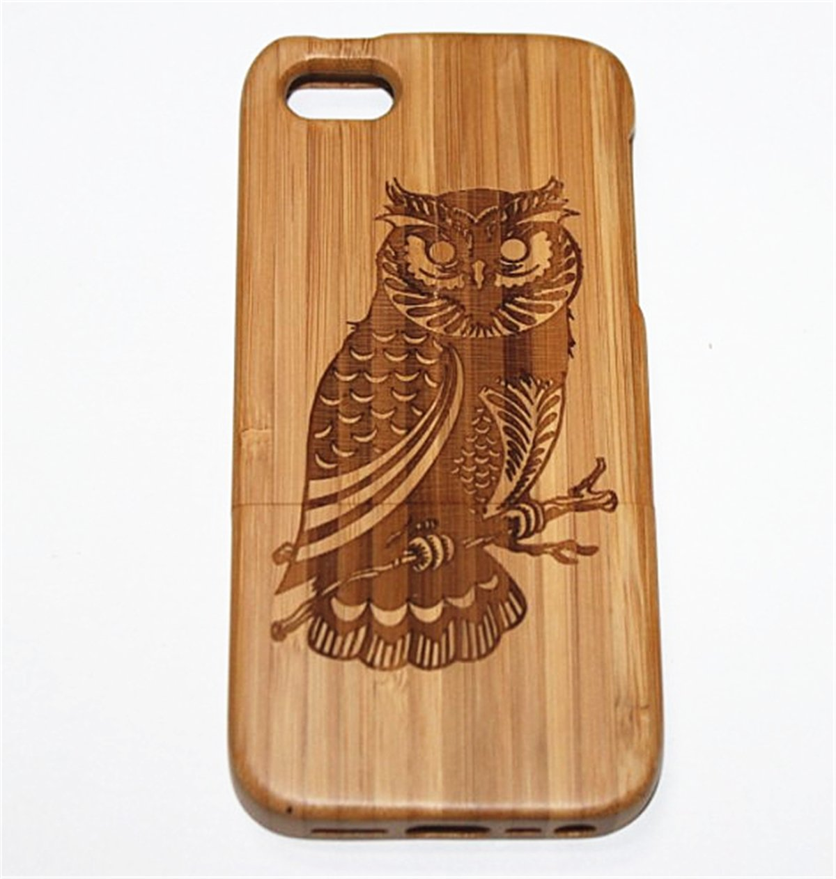 iPhone 5S Case, Firefish Hand-made Real Wood Case Cove Scratch & Shock Resistance?Eco-Friendly &Durable Material For iPhone 5S ( With A Stylus) -Owl