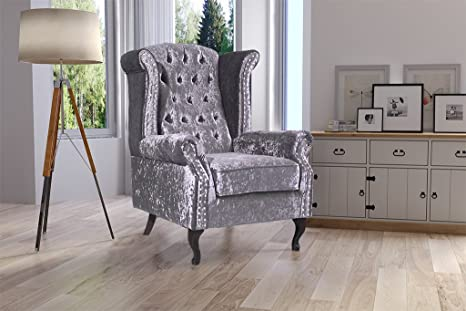 Lovesofas Chelsea Wingback Chairs In Crushed Velvet - Red, Black, Cream, Silver, Brown (Silver)