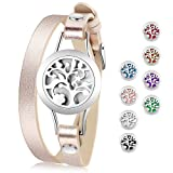 Essential Oil Diffuser Bracelet,Stainless Steel Aromatherapy Locket Bracelets Leather Band with 8 Color Pads,Girls Women Jewelry Gift Set (Color: Tree, Tamaño: Tree)