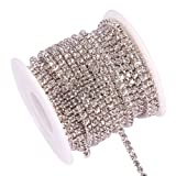 BENECREAT 10 Yard 3mm Crystal Rhinestone Close Chain Clear Trimming Claw Chain Sewing Craft About 2330pcs Rhinestones - Crystal (Silver Bottom) (Color: Crystal (Silver Bottom), Tamaño: 3mm)