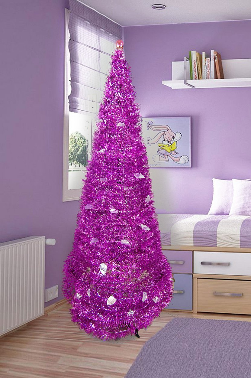 Christmas Tree 5' Collapsible Pop-up Tinsel Metallic Cone Modern Decor Holiday Design (Pink or Purple)