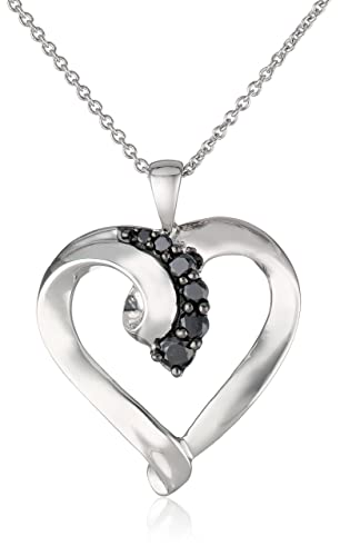 Sterling-Silver-Black-Diamond-Heart-Pendant-Necklace-1-4-Cttw-18-
