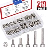 Hilitchi 210pcs M3 Stainless Steel Hex Socket Head Cap Screws Nuts Assortment Kit with Box (M3) (Color: M3)
