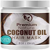 Coconut Oil Hair Mask Conditioner - Deep Conditioning Leave-In Hair Treatment for Dry Damaged Hair Care - 100% Natural Moisturizes Repairs Restores & Nourishes - Sulfate Free 8oz by Premium Nature (Color: white, Tamaño: medium)