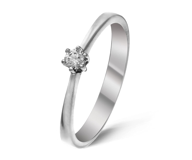 Moderner 9 Karat (375) Weißgold Solitär Verlobung Damen – Ring mit Zirkonia 0.25 Karat bestellen