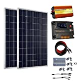 ECO-WORTHY 200 Watt (2pcs 100 Watt) 12V Solar Panel Kit + 20A Battery Charge Controller + 1000W Off Grid Power Inverter (Color: w/ Inverter, Tamaño: 200W)