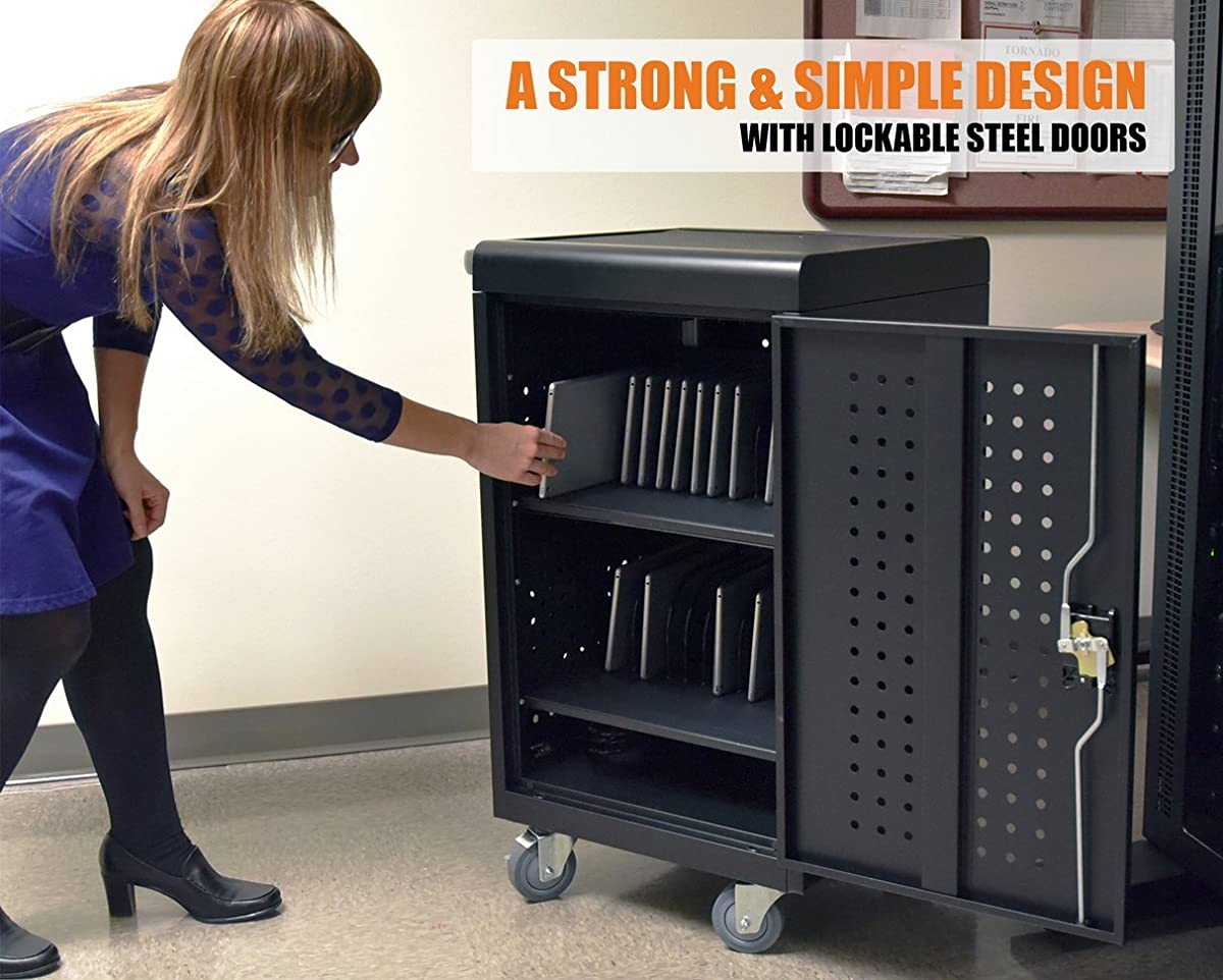 Line Leader Compact Mobile Charging and Storage Cart, Mobile Lab Holds 30 Tablet/Chromebook | Includes Two 15-Outlet Power Strips | Locking Cabinet | Perfect for Schools and Classrooms!
