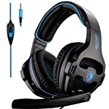 SADES SA810 Gaming Headset Headphone 3.5mm Over-Ear with Mic Volume Control for PC/XboxOne/PS4 (Color: SA810 black&blue)