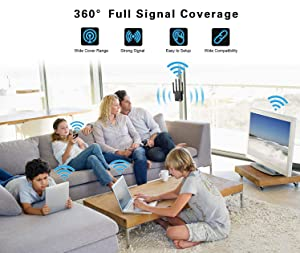 WiFi Range Extender Repeater, Latest 1200Mbps Wireless Signal Booster, 2.4 and 5G Dual-Band WiFi Extender with 4 External Antennas/Gigabit Ethernet Port, 360-Degree Full Coverage Network (1200Mbps-2) (Color: 1200Mbps-2)