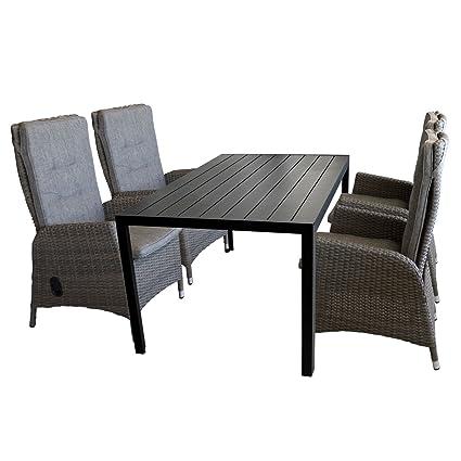 5tlg. Gartengarnitur Sitzgruppe Sitzgarnitur Terrassenmöbel Gartenmöbel Set - Gartentisch, Polywood-Tischplatte, 150x90cm, schwarz + 4x Gartensessel, Poly-Rattangeflecht, stufenlos verstellbare Lehne, grau/braun