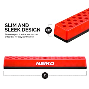 Neiko 02449A Hex Bit Holder Rack with Strong Magnetic Base, 37 Hole Organizer | 1/4-Inch Hex Bit and Drive Bit Adapter