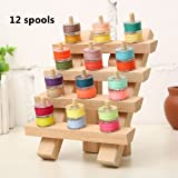 KINGSO 12 Spool Wooden Bobbin Thread Rack and Organizer for Sewing Quilting Embroidery Craft (12 spool)