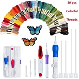 Magic Embroidery Pen Punch Needles, Embroidery Pen Set,Embroidery Patterns Craft Tool Including 50 Color Threads for DIY Sewing Cross Stitching and Knitting Sewing Tool (Color: Colorful-nice)