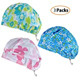 Unisex Adjustable Surgical Hat Scrub Cap Medical Doctor Bouffant Hat Sweatband Scrub Hat (Color: 3 Pack, Tamaño: One Size)