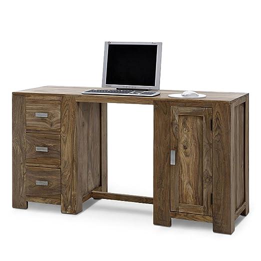 SAM® Schreibtisch Palisander Holz 160 cm 3 Schubladen NA-11A Tisch Vollholz massiv Massivholz exklusiv Schranktur Schubladen Blickfang