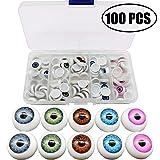 TIHOOD 100pcs/box 12mm Doll Eyeballs Half Round Acrylic Eyes for DIY Doll Bear Crafts Halloween (Color: Multicolor)