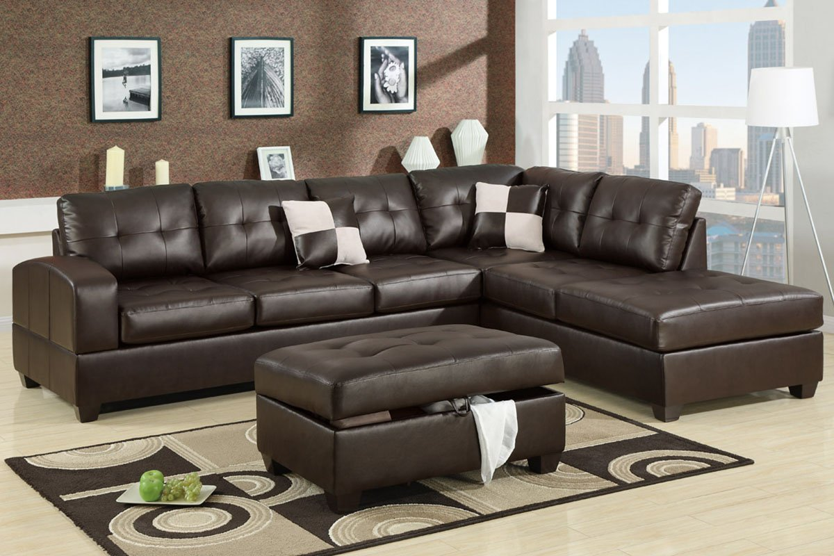 Sectional Couch Set in Espresso Bonded Leather with Free Accent Pillows