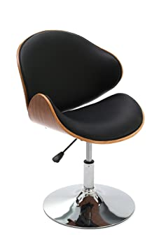 Premier Housewares Walnut Veneer and Leather Effect Bar Chair - Black