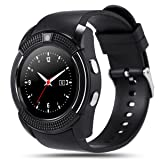 V8 Smart Watch, Padgene Sports Fitness Tracker Bluetooth Wrist Watch with SIM Card and TF Card Slot Camera Message Notification Sleep Monitor for Android&IOS (Black) (Color: Black)
